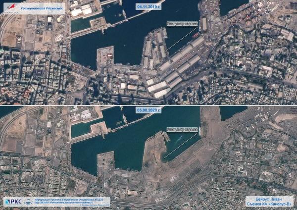 Последствия взрыва в Бейруте со спутника Роскосмоса.|Фото: пресс-служба Роскосмоса