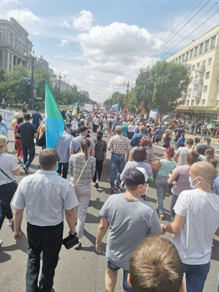 Шествие в Хабаровске в поддержку Сергея Фургала 08.08.20.|Фото: T.me/vehernij_habarovsk / Telegram-канал